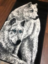 Rugs Approx 4x2ft 60cmx110cm Woven Top Quality wolves Rugs/Mats Black/Silver